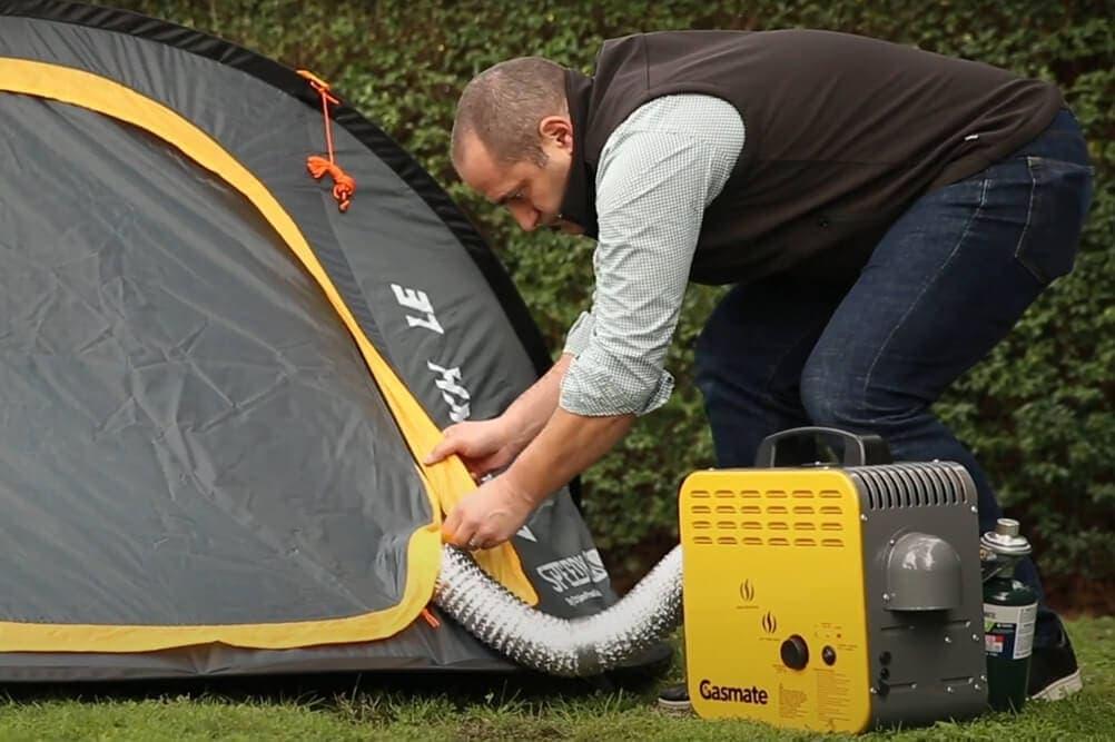 An external or internal tent heater works to warm tent