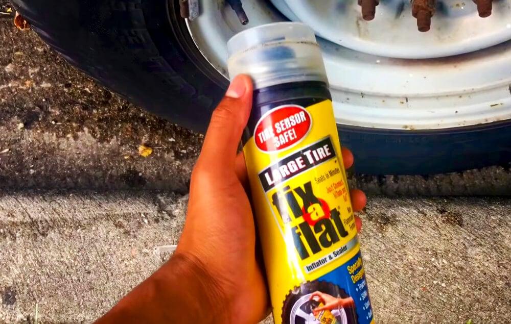 Applying Fix A Flat to a flat tire