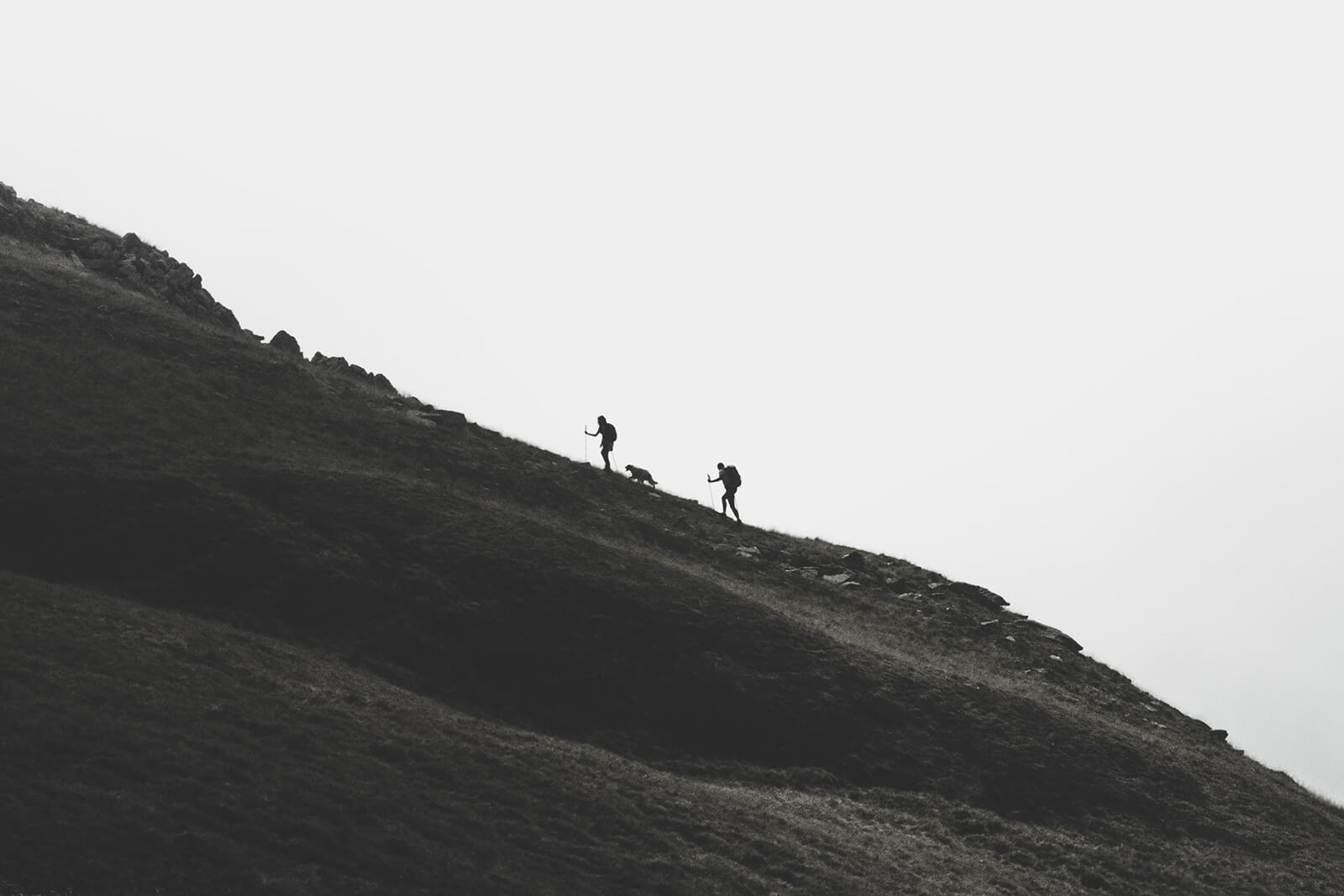 backpacking with dogs, Black and White Silhouette of two hikers and a dog ascending a steep hill or mountain