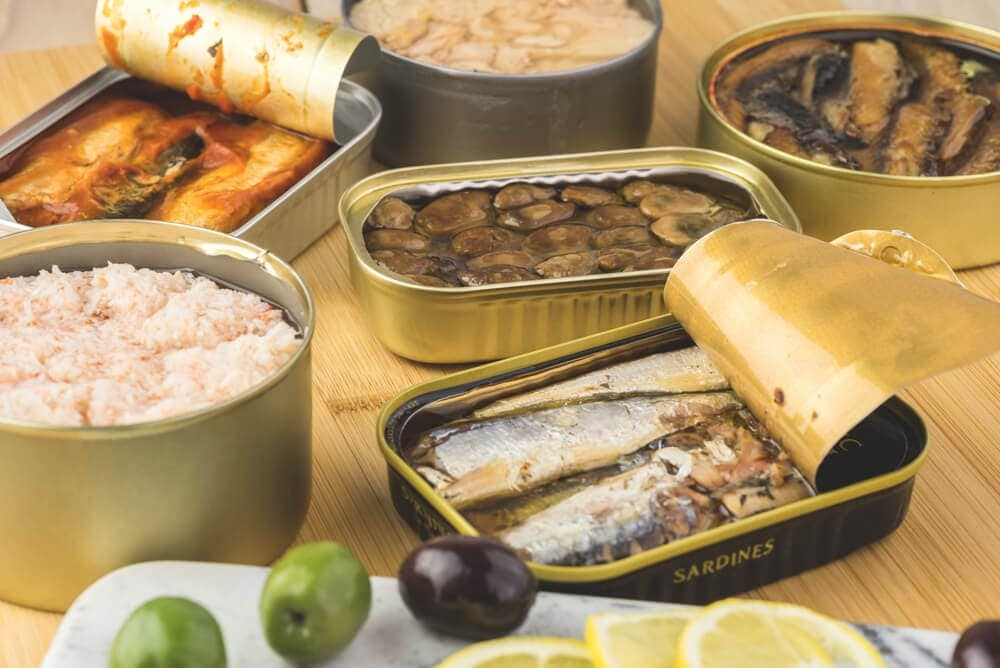 Canned meat chicken oysters fish salmon