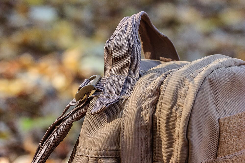 Close up of texture textile on tactical backpack