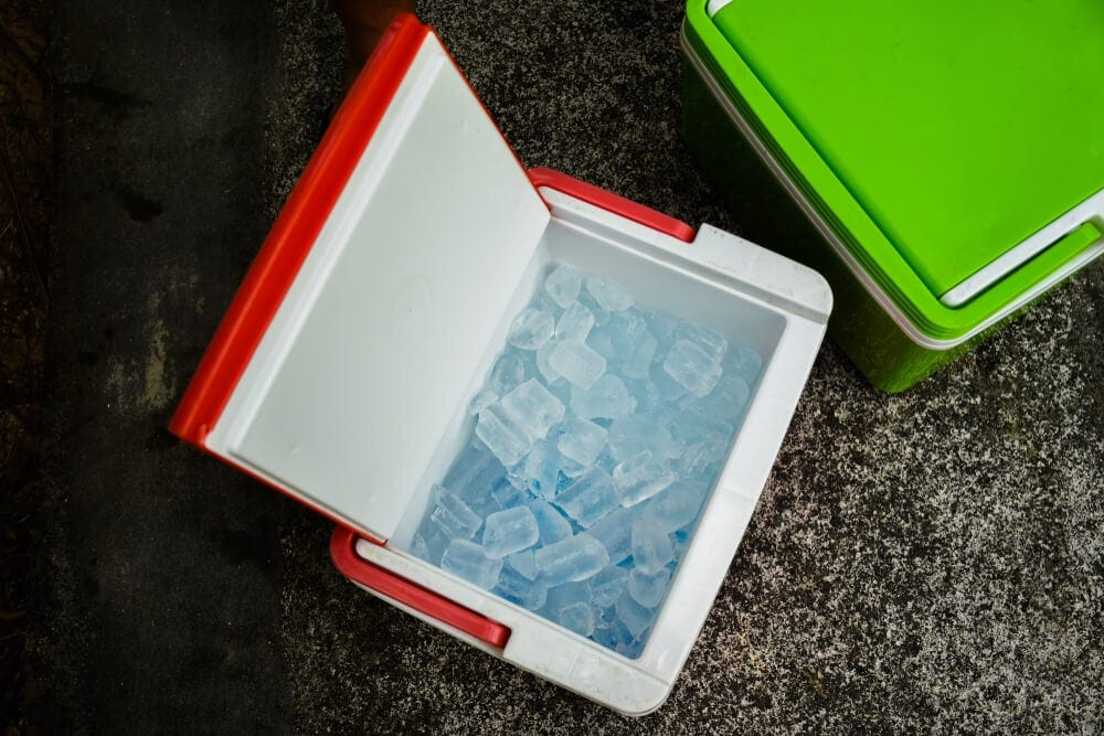 Cooler box full of ice ration