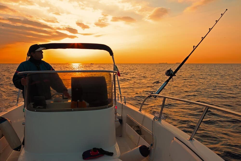 Evening-fishing-with-rod-setup-up-on-boat