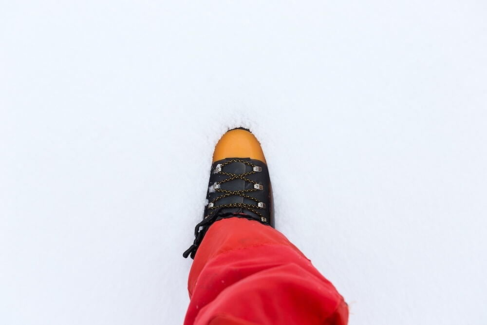 Expedition boots on soft snow