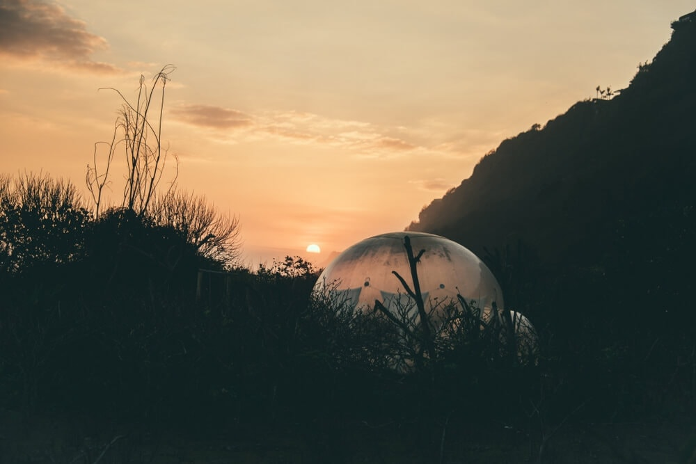 Futuristic glamping tent bubble