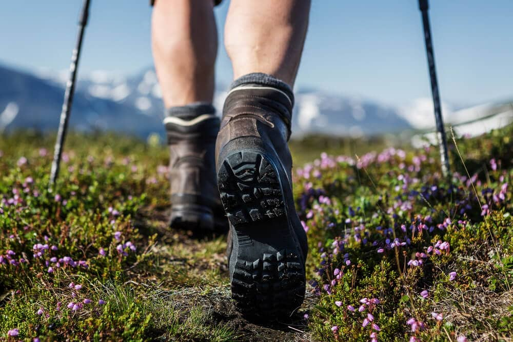 Hking through backcountry in rugged boots
