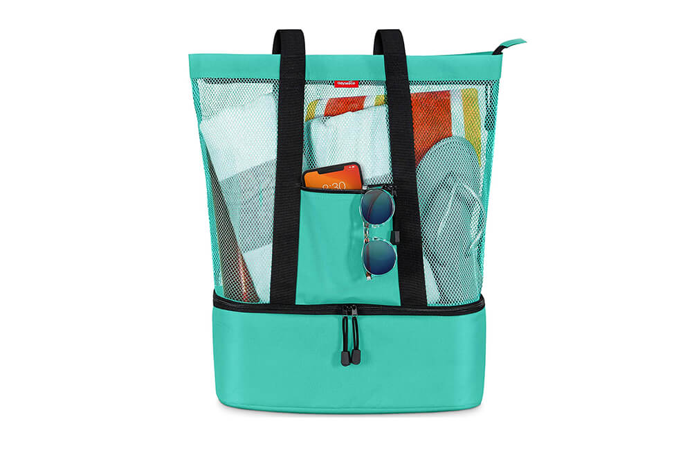 Mesh Beach Bag Tote with Detachable Insulated Cooler by OdyseaCo