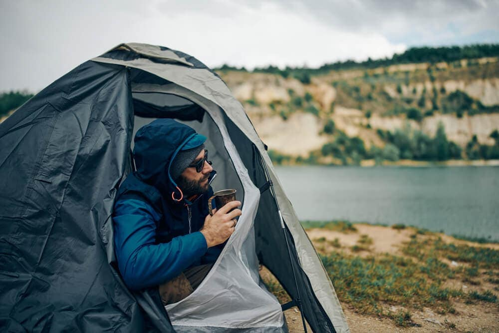 Morning camping routine to include coffee