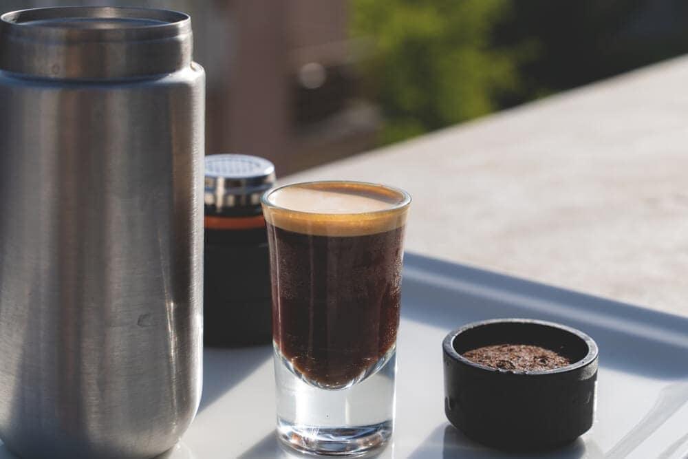 Portable-espresso-maker-in-camping-morning-sunlight