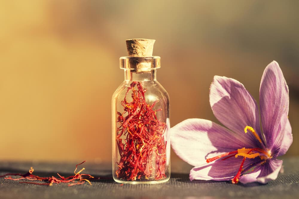 Close up of red affron threads in a jar next to a purple Saffron flower