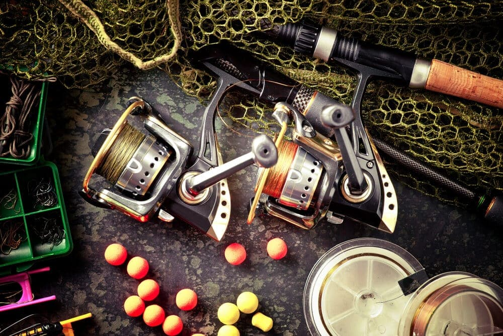Saltwater-fishing-reels-two-setup-with-tackle-gear