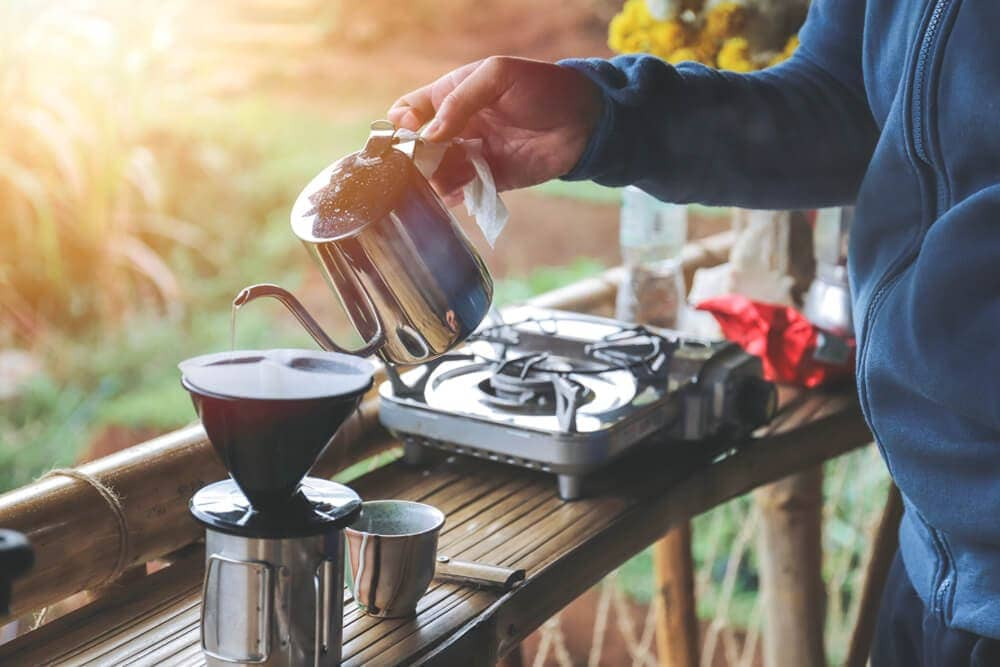 Single-serve-pour-over-cup-with-portable-burner