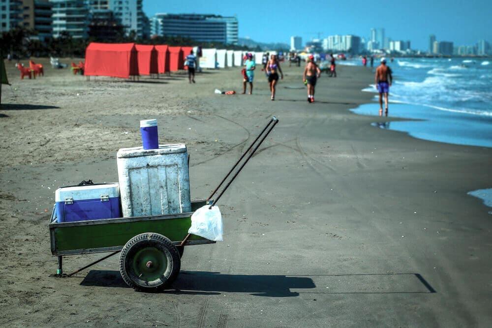Styrofoam cooler on beach iconic sight