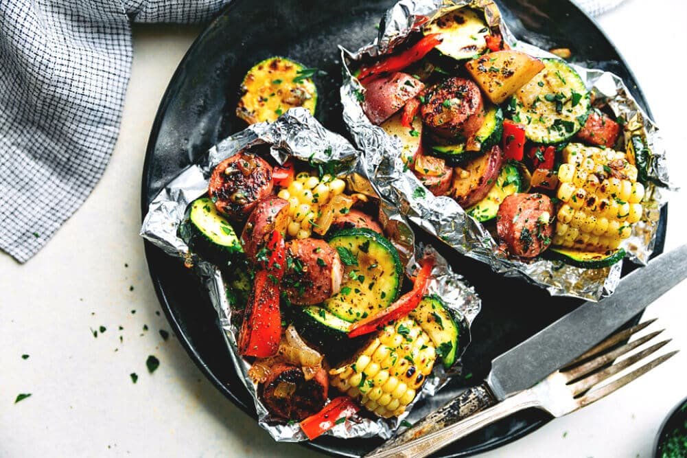 Sausage and veggies in foil campfire meals