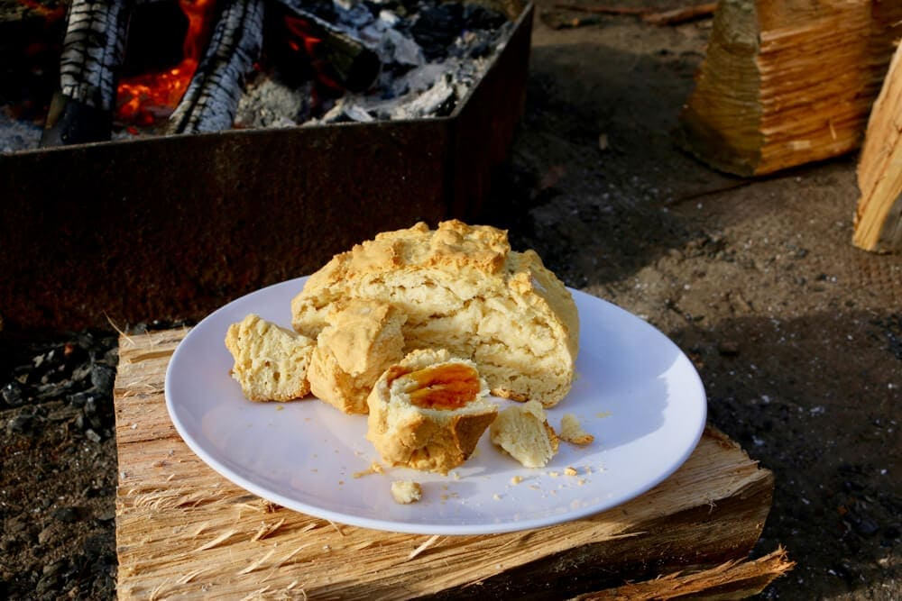 Warm hearty food like damper can help heat tent experience
